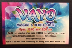 VAYO MASSAGE BUSINESS CARD